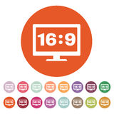 The aspect ratio 16 9 widescreen  icon. Tv and video symbol Stock Images