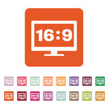 The aspect ratio 16 9 widescreen  icon. Tv and video symbol. Flat Royalty Free Stock Image
