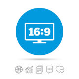 Aspect ratio 16:9 widescreen tv. Monitor symbol. Royalty Free Stock Photography