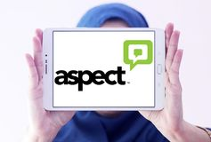Aspect Software logo. Logo of Aspect Software on samsung tablet holded by arab muslim woman. Aspect Software, Inc. is an American multinational call center stock photo