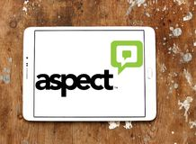 Aspect Software logo. Logo of Aspect Software on samsung tablet. Aspect Software, Inc. is an American multinational call center technology and customer royalty free stock photo