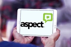 Aspect Software logo. Logo of Aspect Software on samsung tablet. Aspect Software, Inc. is an American multinational call center technology and customer stock image