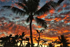 Aspect tropical de paysage de lever de soleil Photographie stock libre de droits