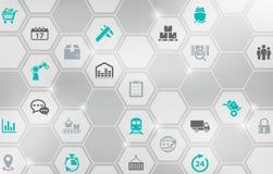 Aspecten van de moderne bedrijflogistiek/scm/processen van het goederenvervoer vector illustratie
