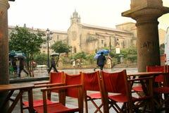 Aspecto chuvoso da Espanha em Pontevedra imagens de stock