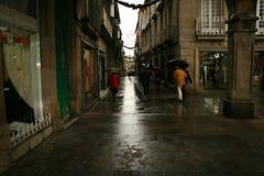 Aspecto da intimidade das ruas e dos arcos estreitos em Pontevedra, Espanha imagens de stock royalty free