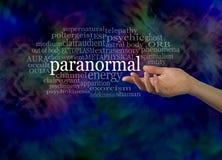 Aspecto de la nube paranormal de la palabra Imagen de archivo libre de regalías