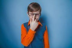 Aspecto europeo del adolescente del muchacho en pelo marrón Imagenes de archivo