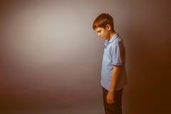Aspecto europeo del adolescente del muchacho en una camisa azul Imagen de archivo libre de regalías