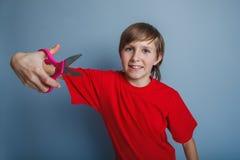 Aspecto europeo del adolescente del muchacho en una camisa roja Imágenes de archivo libres de regalías