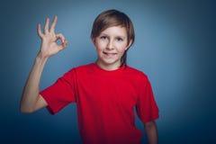 Aspecto europeo del adolescente del muchacho en una camisa roja Imagen de archivo libre de regalías