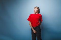 Aspecto europeo del adolescente del muchacho en una camisa roja Fotografía de archivo