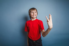 Aspecto europeo del adolescente del muchacho en una camisa roja Fotos de archivo libres de regalías