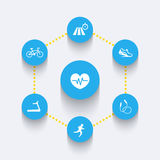 Aspects of cardio training, round blue icons Stock Photography