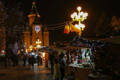 Aspects from the Christmas fair, Timisoara, Romania. TIMISOARA, ROMANIA - DECEMBER 14, 2016: Aspects from the Christmas fair  with traditional products and Stock Photography