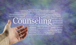 Aspects of Counseling Word Tag Cloud. Open palm hand gesturing towards a Counseling word cloud on a rustic blue modern background stock illustration