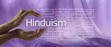Aspects of Divine Hinduism Word Tag Cloud. Female hands cupped around the word HINDUISM surrounded by a word cloud against a purple flowing chiffon background stock photos