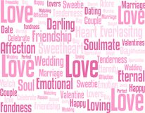 Aspects of love and relationships. Text in pink in various font sizes and styles of aspects of love including, dating, fondness, friendship, affection, marriage stock illustration