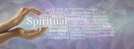 Aspects of Spiritual Word Tag Cloud. Female cupped hands with the word SPIRITUAL floating between surrounded by a relevant word cloud against a blue purple jade stock photo