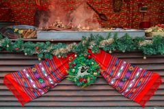 Street Christmas fair, Timisoara, Romania stock photography
