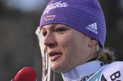 Aspen, CO - 27 de noviembre: Maria Hoefl-Riesch i post-race Imagen de archivo libre de regalías