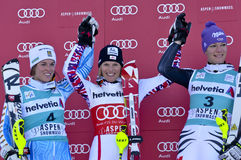 Aspen, CO - novembro 27: Maria Pietilae-Holmner (L), miliampère Imagens de Stock Royalty Free