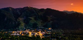 Aspen, Colorado. Aspen skyline from up high during summer Royalty Free Stock Photo