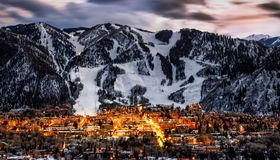 Aspen, Colorado. Aspen skyline from up high during winter royalty free stock images