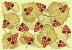 Aspen leaves and fly agarics on a green background. Autumn pattern stock illustration