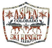 Aspen ski resort. Vintage vector artwork with knitted texture in custom colors vector illustration