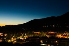 Aspen Sunset. View of the town of Aspen, Colorado from part of the way up the local ski slope Stock Photo