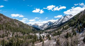 Scenic view of waterfalls and river in the rocky mountains near Aspen Colorado USA royalty free stock photos