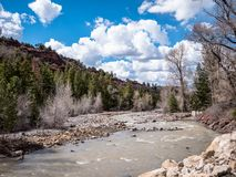 View of the North Fork Gunnison River Colorado in spring near to Aspen royalty free stock photo