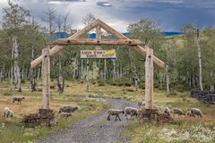 Aspen View Ranch gate in San Juan Mountains, Hastings Mesa, near Ridgway and Telluride Colorado . Southwest USA, Mountain. Aspen View Ranch gate in San Juan royalty free stock photography