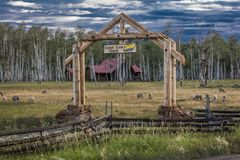 Aspen View Ranch gate in San Juan Mountains, Hastings Mesa, near Ridgway and Telluride Colorado . Outdoors, Environment. Aspen View Ranch gate in San Juan royalty free stock photos