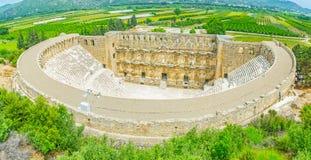 Aspendos-Amphitheater von der Spitze lizenzfreie stockfotos