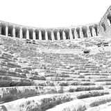 Aspendos and broken  in turkey europe   the old theatre abstrac Stock Photography