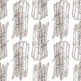 Asperge Modèle sans couture, illustration monochrome Style tiré par la main de croquis Fond de vintage de nourriture Images libres de droits