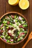 Asperge Pea Radish de couscous et salade de lard Photographie stock libre de droits