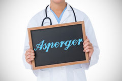 Asperger against doctor showing little blackboard Stock Photos