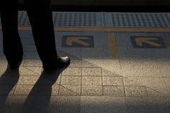 Aspettando il treno Immagine Stock