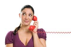 Aspettando una risposta al telefono Fotografia Stock