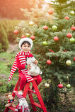 Aspettare del ragazzo Natale nel legno Natale in juli Immagini Stock