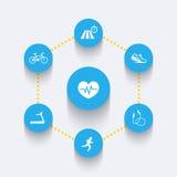 Aspetti di cardio addestramento, icone blu rotonde Fotografia Stock