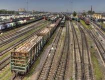 Aspetti per lo scalo di smistamento dei vagoni del trasporto della consegna di Russo Immagine Stock
