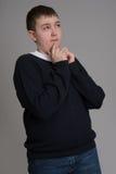 Aspetto marrone dell'europeo dei capelli del ragazzo Fotografie Stock Libere da Diritti