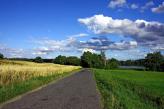 Asphal road in nature. Field and lake Royalty Free Stock Photos