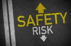 Asphalt with arrows forward safety and back risk vector illustration