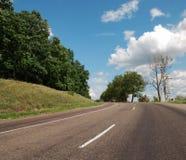 Asphalt auto road in summer. Green landscape of Ukraine Royalty Free Stock Image