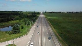 Asphalt Autobahn Highway Road In Rusia almacen de metraje de vídeo